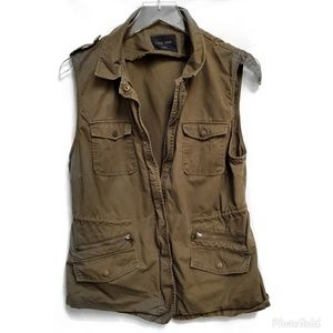 Love Tree Olive zip Up Vest #969